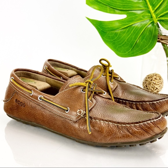 Ecco Cuno Loafer Moccasin Slip On Brown Leather